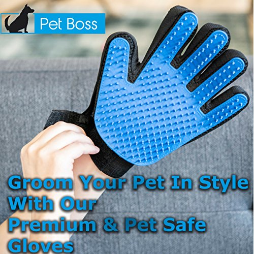 Pet Grooming Glove - Gentle Deshedding Brush Glove - Efficient Pet Hair Remover Mitt - Massage Tool with Enhanced Five Finger Design - Perfect for Dogs & Cats with Long & Short Fur by Pet Boss Co (Image #4)