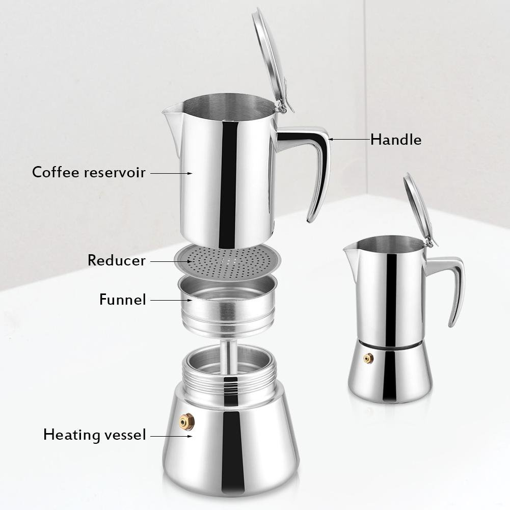 Cocoarm Coffee Maker Pot,200ml Stainless Steel Moka Pot Espresso Coffee Maker for Gas /& Electric Stovetop