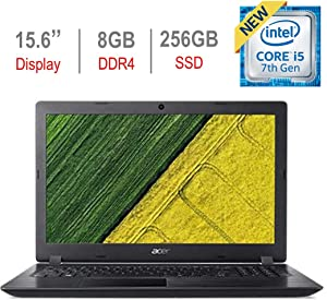 Acer Aspire 15.6-inch HD Laptop PC, Intel Core i5-7200U 2.5GHz Processor, 8GB DDR4 RAM, 256GB Solid State Drive, Bluetooth, HDMI, USB 3.0, Stereo Speakers, Intel HD Graphics 620, Windows 10, Black