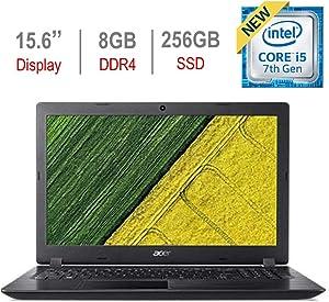 Acer Aspire 15.6-inch HD Laptop PC, Intel Core i5-7200U 2.5GHz Processor, 8GB DDR4 RAM, 256GB Solid State Drive, Bluetooth, HDMI, USB 3.0, Stereo Speakers, Intel HD Graphics 620, Windows 10, Black