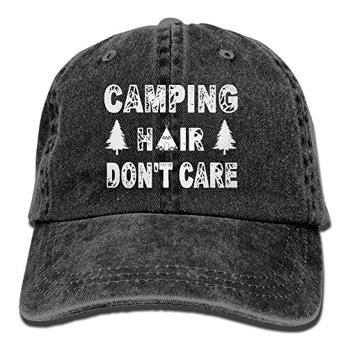 Closure Cotton Cap Buckle (SARA NELL Unisex Adult Camping Hair Don't Care Vintage Adjustable Baseball Cap Cotton Denim Cowboy Dad Hat (Black))