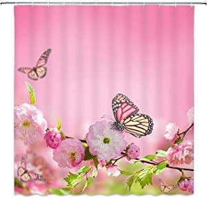 XZMAN Pink Flower Butterfly Shower Curtain Spring Floral Peach Blossom Green Leaves Nature Scenery Zen Spa Home Fabric Bathroom Decor Set 70 x 70 Inches with Hook