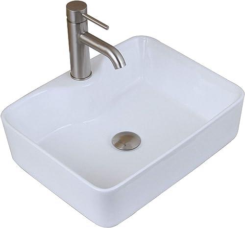 ELITE Bathroom Rectangle White Porcelain Ceramic Vessel Sink Short Brushed Nickel Faucet Combo