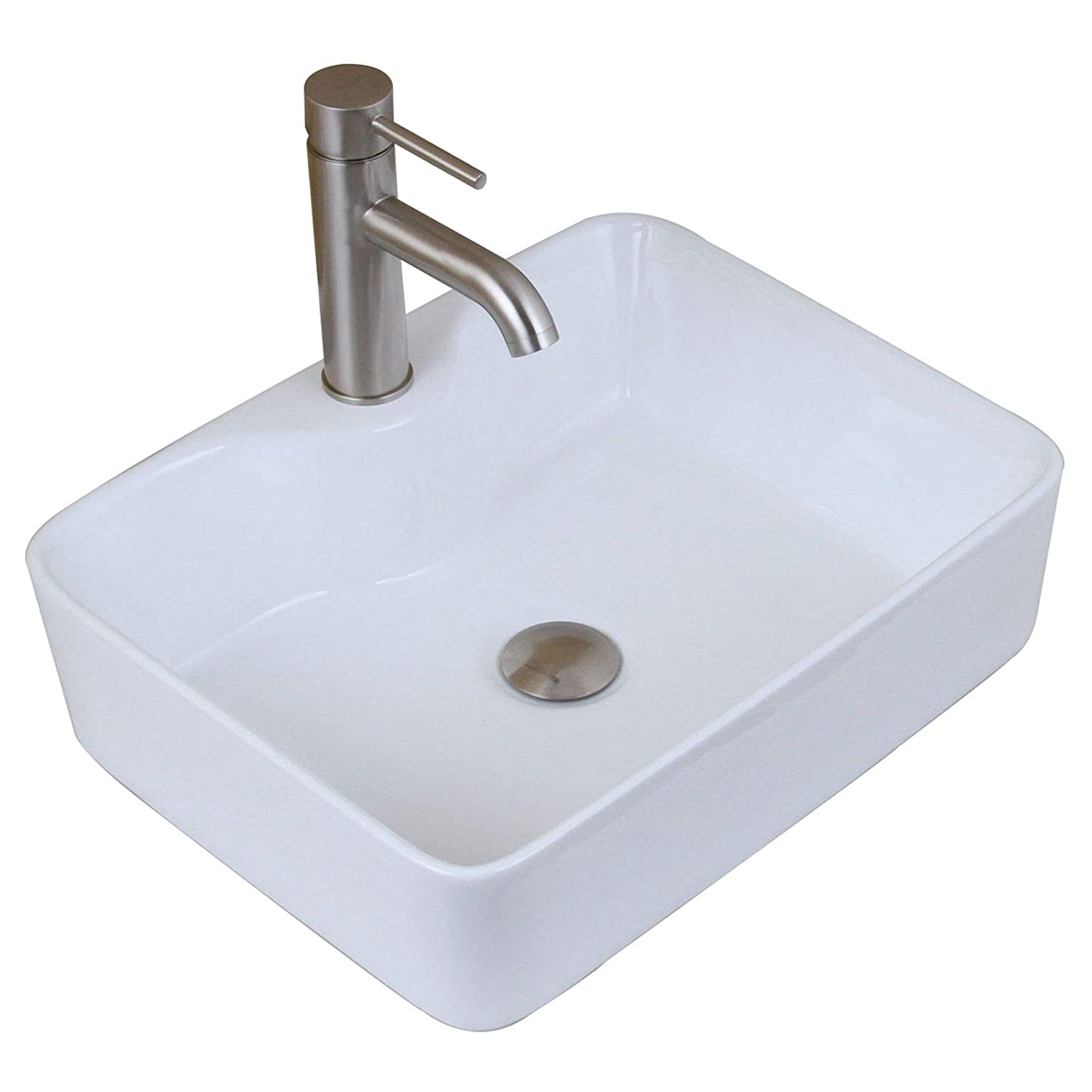 ELITE Bathroom Rectangle White Porcelain Ceramic Vessel Sink Short Brushed Nickel Faucet Combo