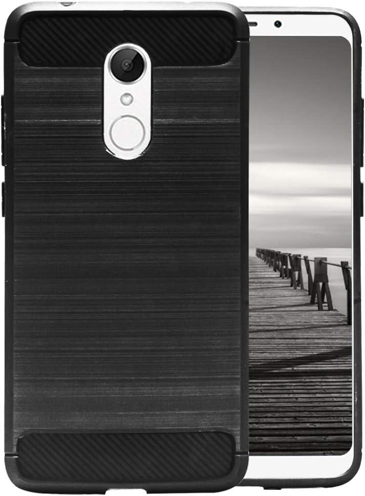 MyCase Funda Antideslizante para Xiaomi Redmi 5 Plus | Negro Caucho Suave Elegante y