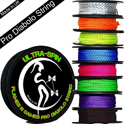 ULTRA-SPIN Pro Diabolo String 10m Reel (Choice of Colors) Performance, High Speed Diablo String for all Diabolos. (Black/Red)