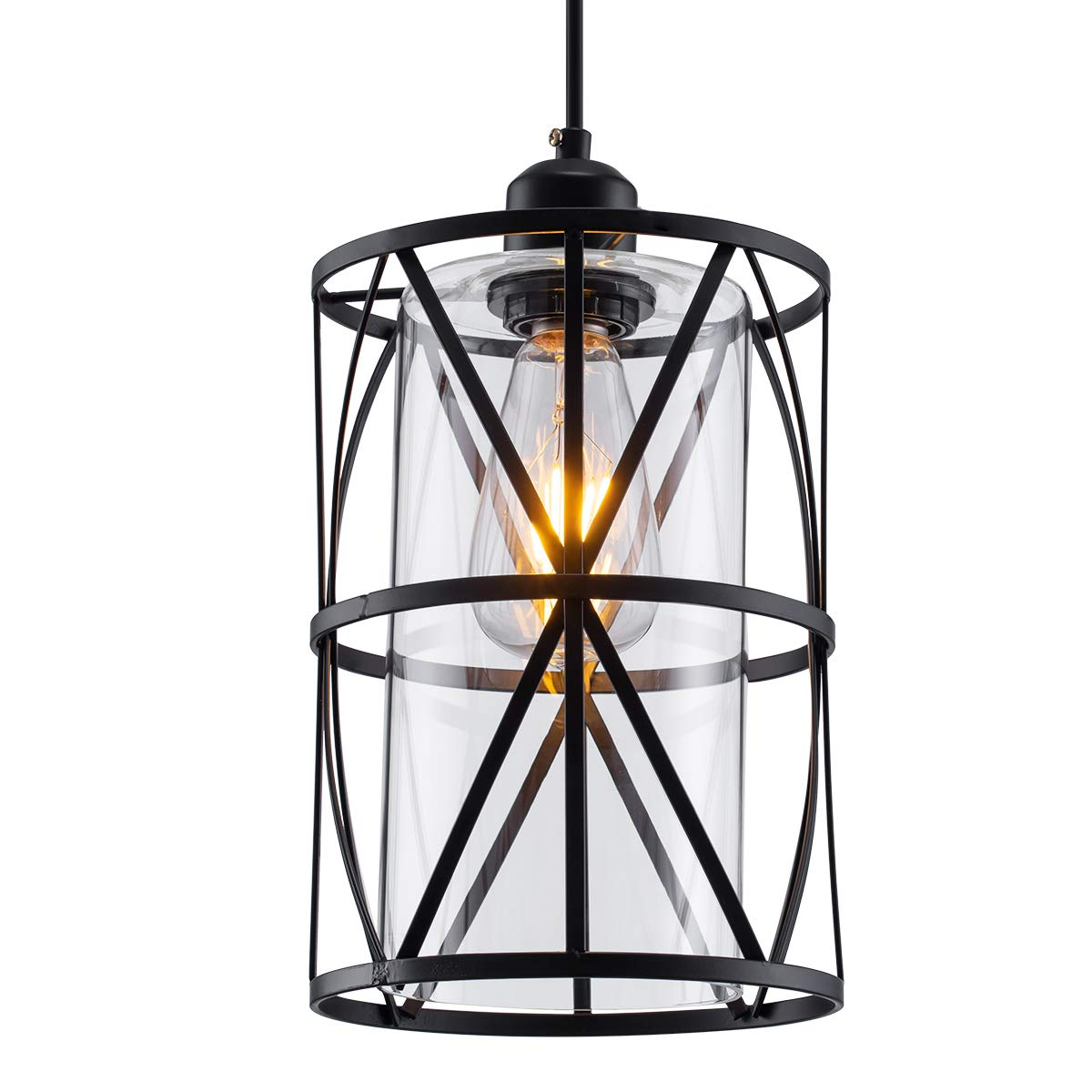 ShengQing Black Industrial Metal Swag Light, Cylindrical Pendant Light with Clear Glass Shape, New Transitional Hanging Light Fixture for Kitchen Island Counter Dining Room Bedroom Restaurant