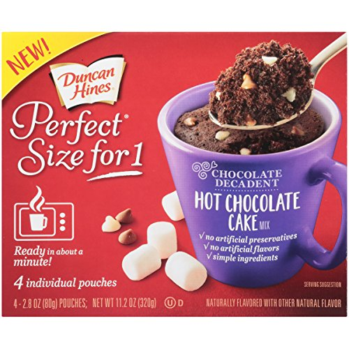 Duncan Hines Perfect Size for 1 Cake Mix, Ready in About a Minute, Hot Chocolate Cake, 4 Individual Pouches (Caramel Cake Duncan Mix Hines)