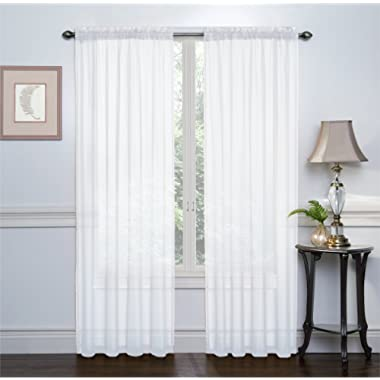 2 Pack: Ultra Luxurious High Thread Rod Pocket Sheer Voile Window Curtains by Victoria Classics - Assorted Colors (White)
