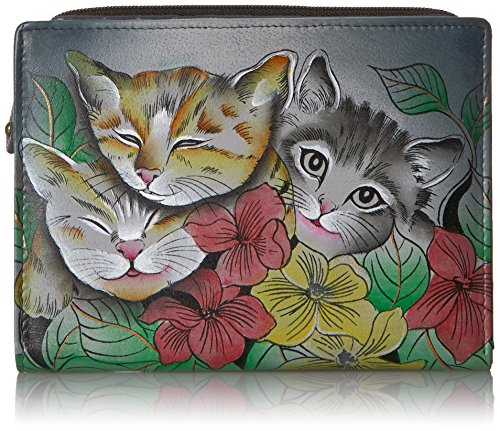 Anna by Anuschka Clutch Wallet | Genuine Leather | Three Kittens
