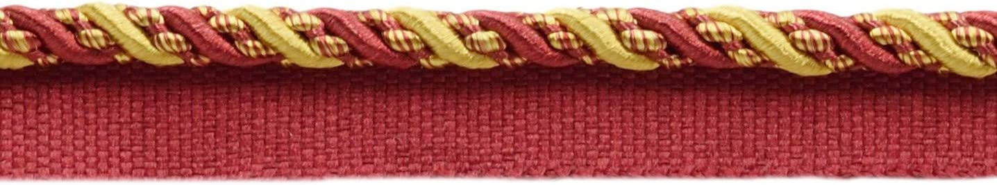 1253 Sold by The Yard Noblesse Collection Lip Cord Style# 0416H Color: Carmine Gold D/ÉCOPRO Medium 4//16 inch Burgundy Red Gold