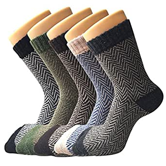 Womens Thick Knit Warm Casual Wool Crew Winter Socks, One Size, Mixed Colors (5 Pack) at Amazon
