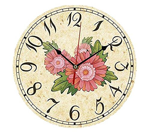ChezMax 12″ Vintage European Creative Frameless Wooden Electronic Wall Clock DIY Assembling Clock Gerbera Jamesonii Bolus For Sale
