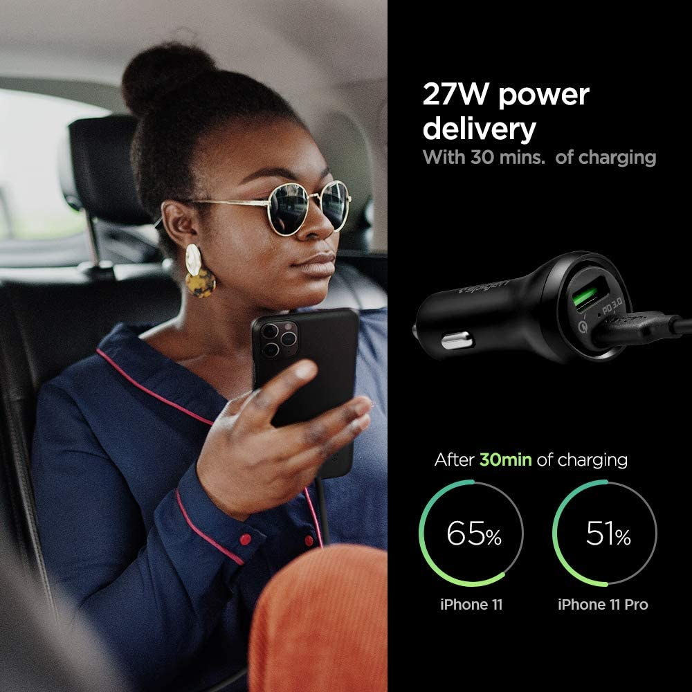 iPhone iPad Pixel Galaxy Tab Spigen SteadiBoost 45W Fast USB C Car Charger with Power Delivery 3.0 and Quick Charge 3.0 Works with Galaxy