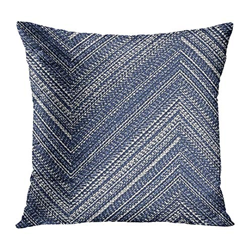 - VANMI Throw Pillow Cover Navy Distressed Abstract Washed Indigo Denim Bold Chevron Strokes Brushed Herringbone Decorative Pillow Case Home Decor Square 18x18 Inches Pillowcase