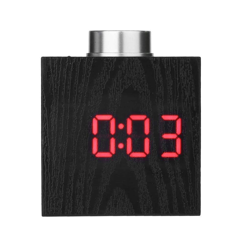 LED Alarm Clock, YiMiky LED Display Wood Grain Clock Adjustable Brightness Alarm Clock Electronic Temperature C/F Display Snooze Battery Backup Simple Operation for Students Adults - Red