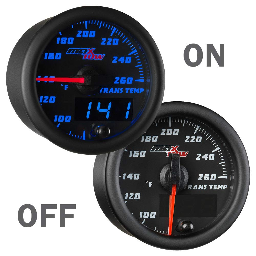 Includes Electronic Sensor 2-1//16 52mm for Trucks Blue LED Illuminated Dial Analog /& Digital Readouts MaxTow Double Vision 260 F Transmission Temperature Gauge Kit Black Gauge Face