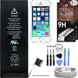 Cell Phone DIY Replacement Battery Kit for Apple iPhone 5S & 5C - Complete Repair - Includes Tools - [Set of 2] Glass Screen Protectors Pack - 1M/3' USB Cable - 0 Cycle 1560mAh Batteries Pack - Replace 616-0720