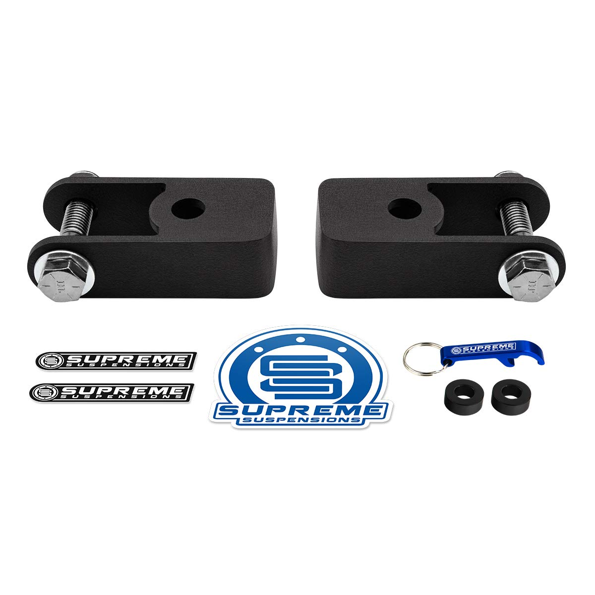Supreme Suspensions - Rear Shock Extenders for 2007-2014 Cadillac Escalade High-Strength Steel Shock Extension Brackets Kit 2WD 4WD (Black)