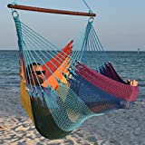 Cheap Caribbean Hammocks Jumbo Chair with Footrest – 55 inch – Soft-Spun Polyester – Rainbow