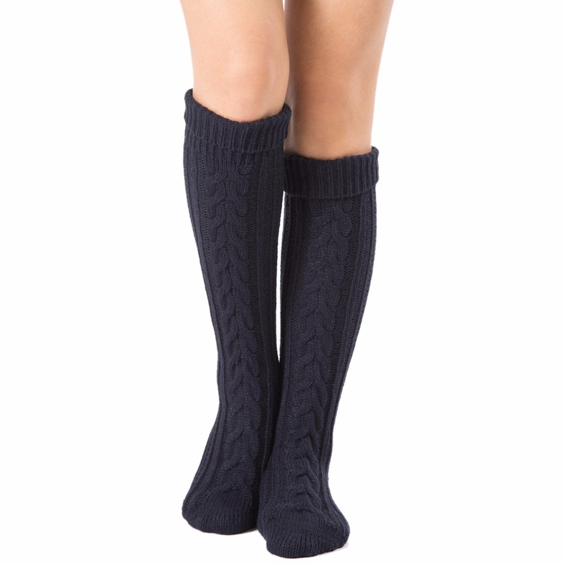 QIYUN.Z 2018 Fashion Unisex Minimalism Knit Knee-high Extra Long boot Socks E3097S0023/1ONE