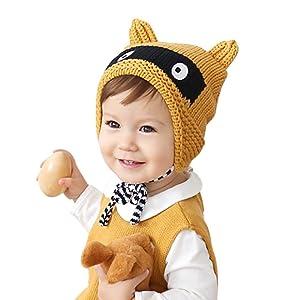 Baby Winter Hat, FTXJ Toddler Boy Girl Cap Knitted Crochet Cute Ear Beanie Warm Hats (Yellow)