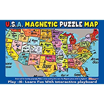 Amazoncom TS Shure Wooden Magnetic Map Of The USA Puzzle Toys - Interactive us map puzzle