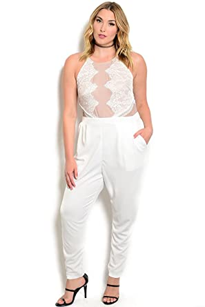 24f86094ef5 Image Unavailable. Image not available for. Color  Ivory Tan Plus Size  Jumpsuit