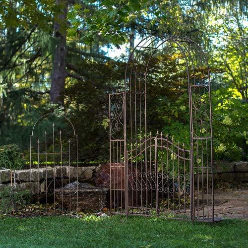 (Gated Hodgson Garden Metal Arbor with Matching Trellis)