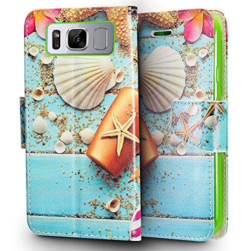 Samsung Galaxy S8 G950 case, Luckiefind Designer Premium PU Leather Flip Wallet Credit Card Cover Case, Stylus Pen, Screen Protector Accessories (Wallet Beach Design) (Faceplates Phone Samsung Cell)