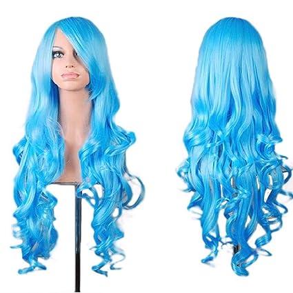 Beikoard Peluca-Mujeres dama larga ondulado pelo rizado Anime Cosplay partido pelucas peluca completa (