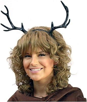 Black Deer Antlers Headband Gothic Creature Animal Reindeer Fairy Horns DIY