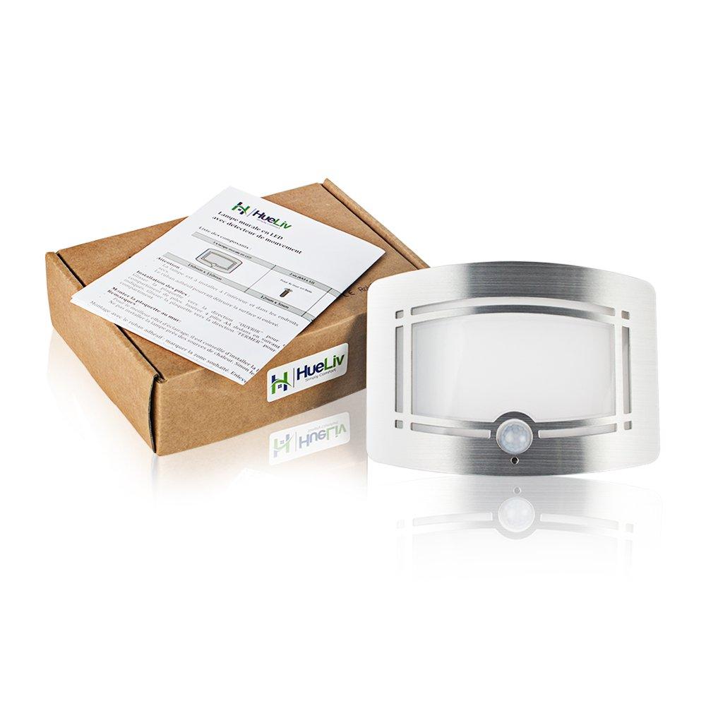 HueLiv Plafón LED de Pared, inalámbrico, Funciona con Pilas, activación por Movimiento, luz Nocturna para Piso, Entrada, Pasillo y sótano: Amazon.es: Jardín
