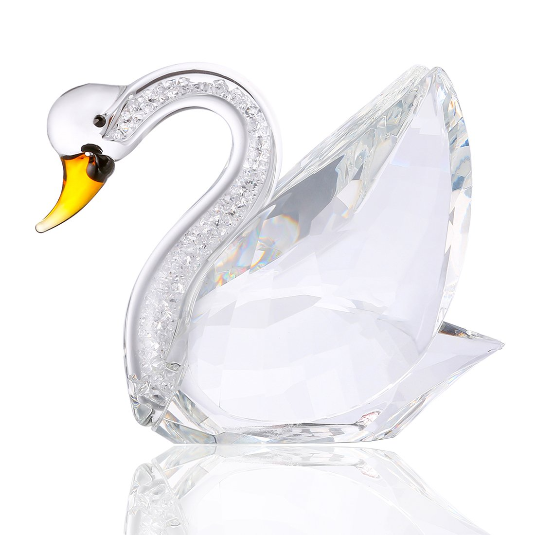 H&D Clear Crystal Swan Statue with Rhinestomes Home Decoration Gifts for her