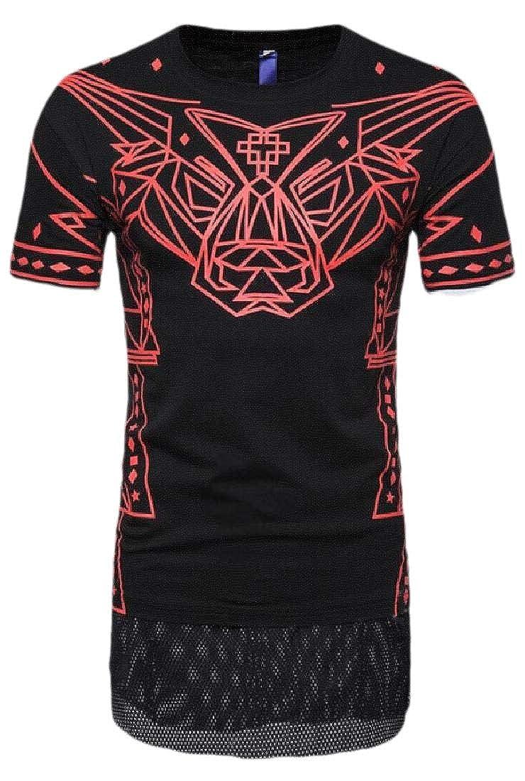 HTOOHTOOH Men Print T-Shirt Casual O Neck Pullover Short Sleeve Blouse