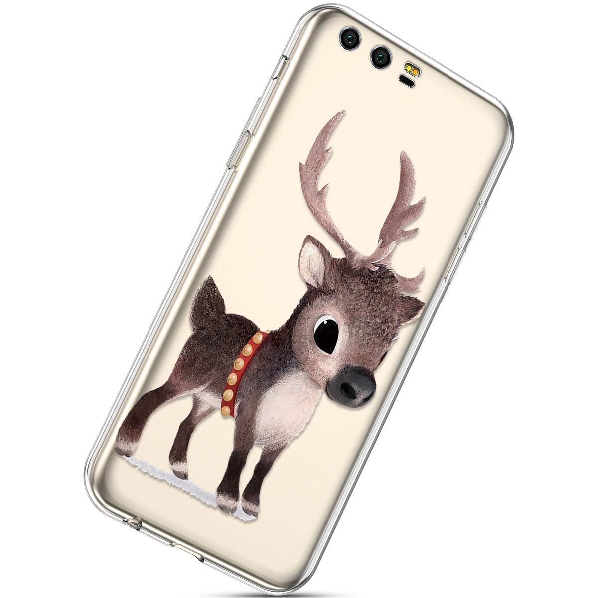 Handytasche Huawei Honor 9 Silikonh/ülle Cover Durchsichtige Handyh/ülle Silikon Kristall Klar Transparent Schutzh/ülle Crystal Clear Handycover D/ünn Bumper Case Schutz Tasche,Schneeflocke Hirsch