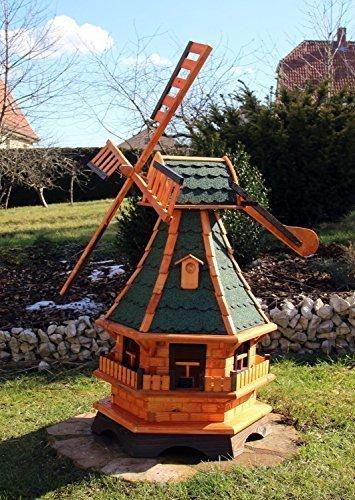 Große Windmühlen, Windmühle Holz mit Solarbeleuchtung 18.1(groß, Grün)