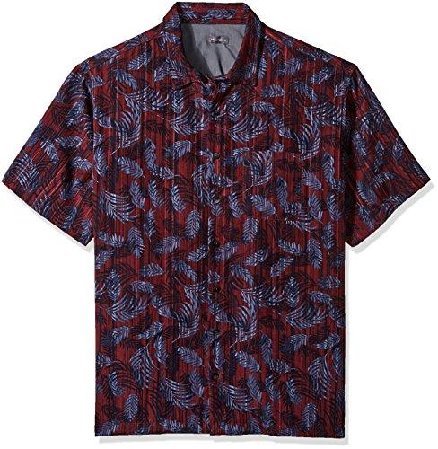 Van Heusen Men's Big and Tall Air Short Sleeve Button Down Tropical Print Shirt, Oxblood, 2X-Large