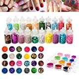 Premium Quality Nail Art Set With Glitters / Paillettes, Caviar / Mini Pearls And Different Shapes Sparkles Decorations In Many Different Colors By VAGA