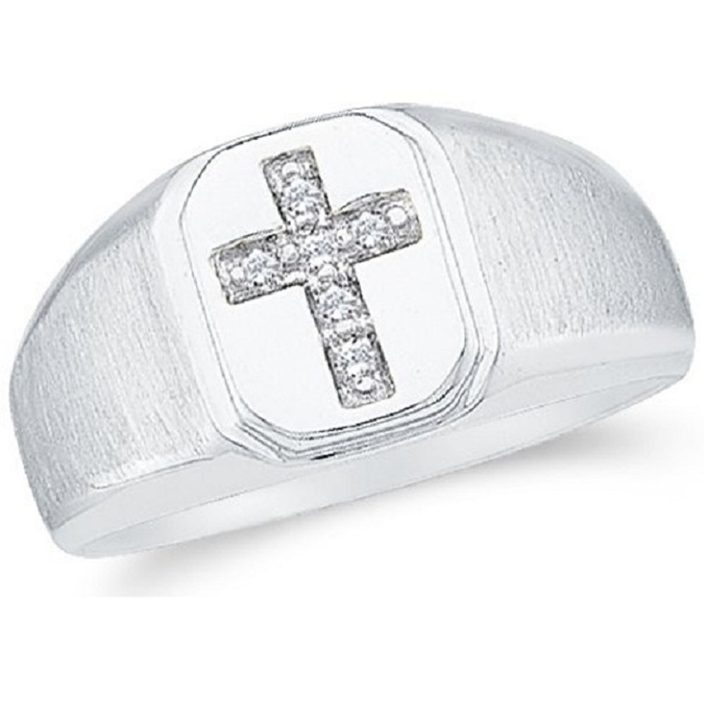 2heart Diamond Accents 14K White Gold Fn .925 Sterling Cross Wedding Band Men's Ring