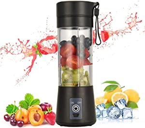 Portable Blender, Personal Size Blender USB Juicer Cup, 13oz Fruit Mixer Machine with 2000mAh Rechargable batteries, Mini Travel Blender for Shakes and Smoothies, Baby Food, BPA-free (Black)