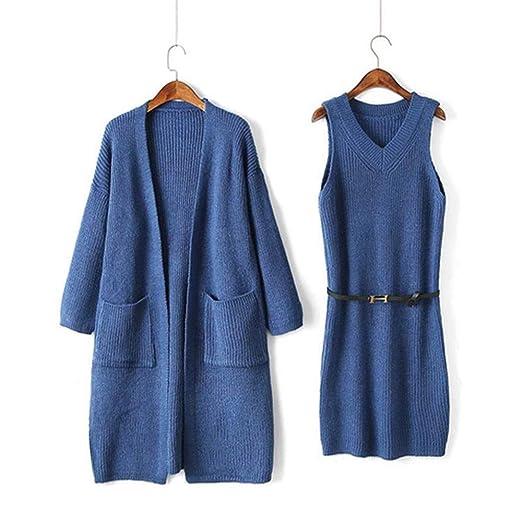 Luckycat Vestido de suéter sólido de Punto de Manga Larga de Invierno de Mujer + Abrigo de 2 Piezas (Azul): Amazon.es: Ropa y accesorios