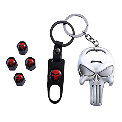TK-KLZ Skull Car Truck Motorcycle Bike Tire Valve Stem Caps + Key Chain Set with Opener Function for Jeep Toyota Honda BMW Ford Chevrolet Nissan Subaru VW Mustang Corvette Volvo Decoration: Automotive