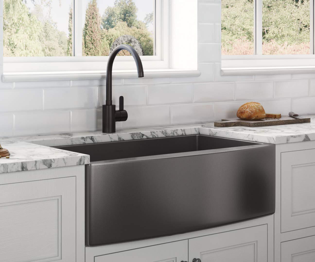 Ruvati Gunmetal Black Matte Stainless Steel 33-inch Apron-Front Farmhouse Kitchen Sink - Single Bowl - RVH9733BL
