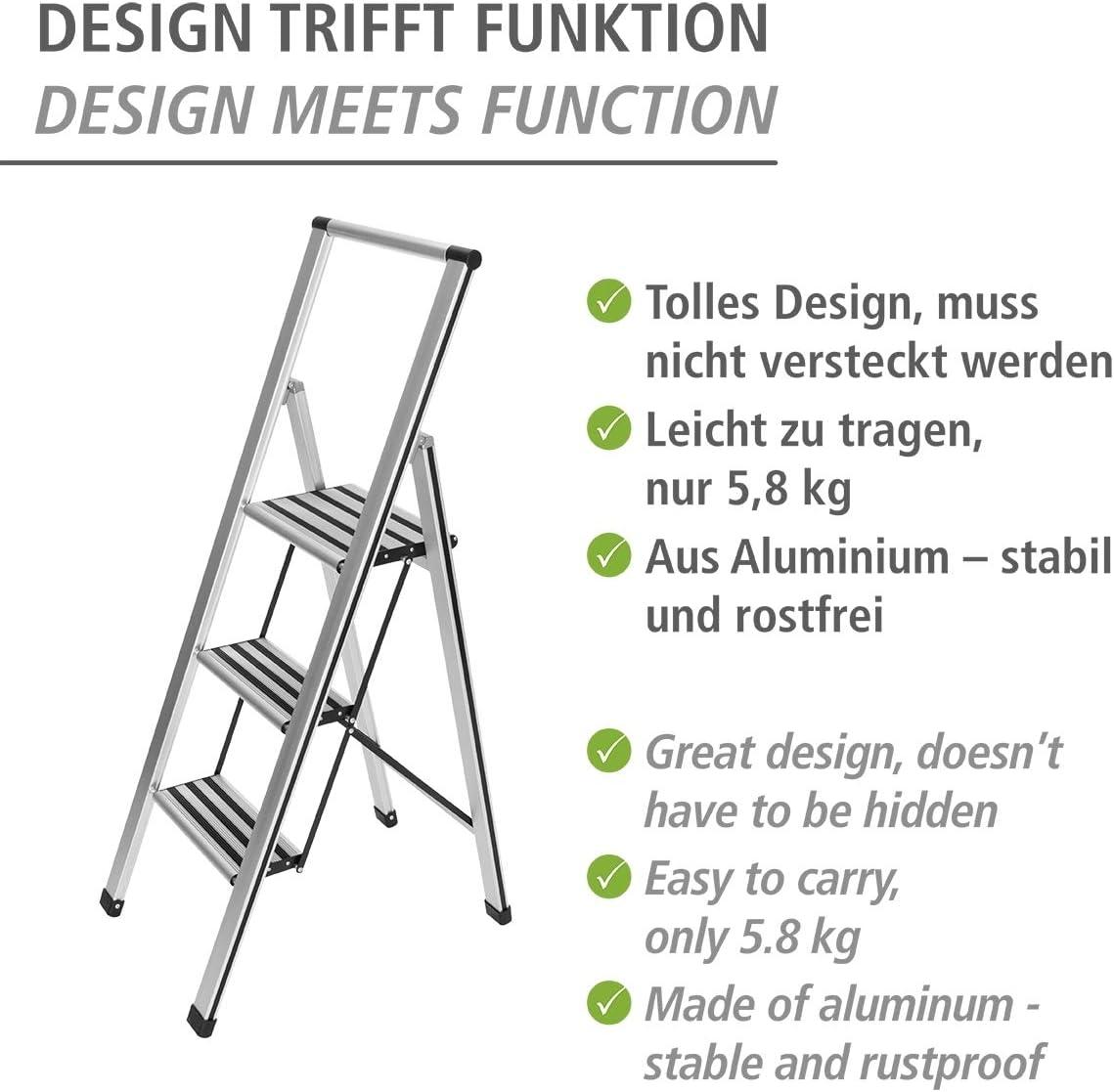 Wenko ALU-Design Pliante Escabeau 2 niveaux blanc budget chef Inutilisé catégorie B