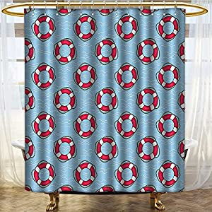 "NALAHOMEQQ Buoy Decor Shower Curtain Set by Pattern With Lifebuoys Floating In Ocean Swimming Urgency Sos Protection Bathroom Accessories (72""x84"")"