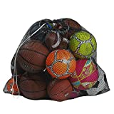 """Mesh Equipment Bag, Black - 24"""" x 36"""" - Adjustable, sliding drawstring cord closure. Perfect mesh bag for parent or coach, making it easy to transport and keeping your sporting gear organized."""