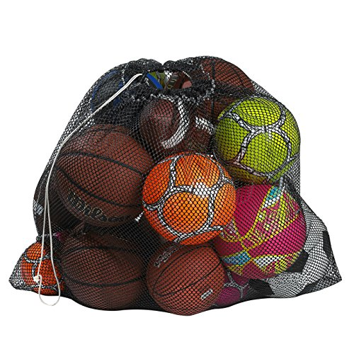"(Mesh Equipment Bag, Black - 24"" x 36"" - Adjustable, sliding drawstring cord closure. Perfect mesh bag for parent or coach, making it easy to transport and keeping your sporting)"