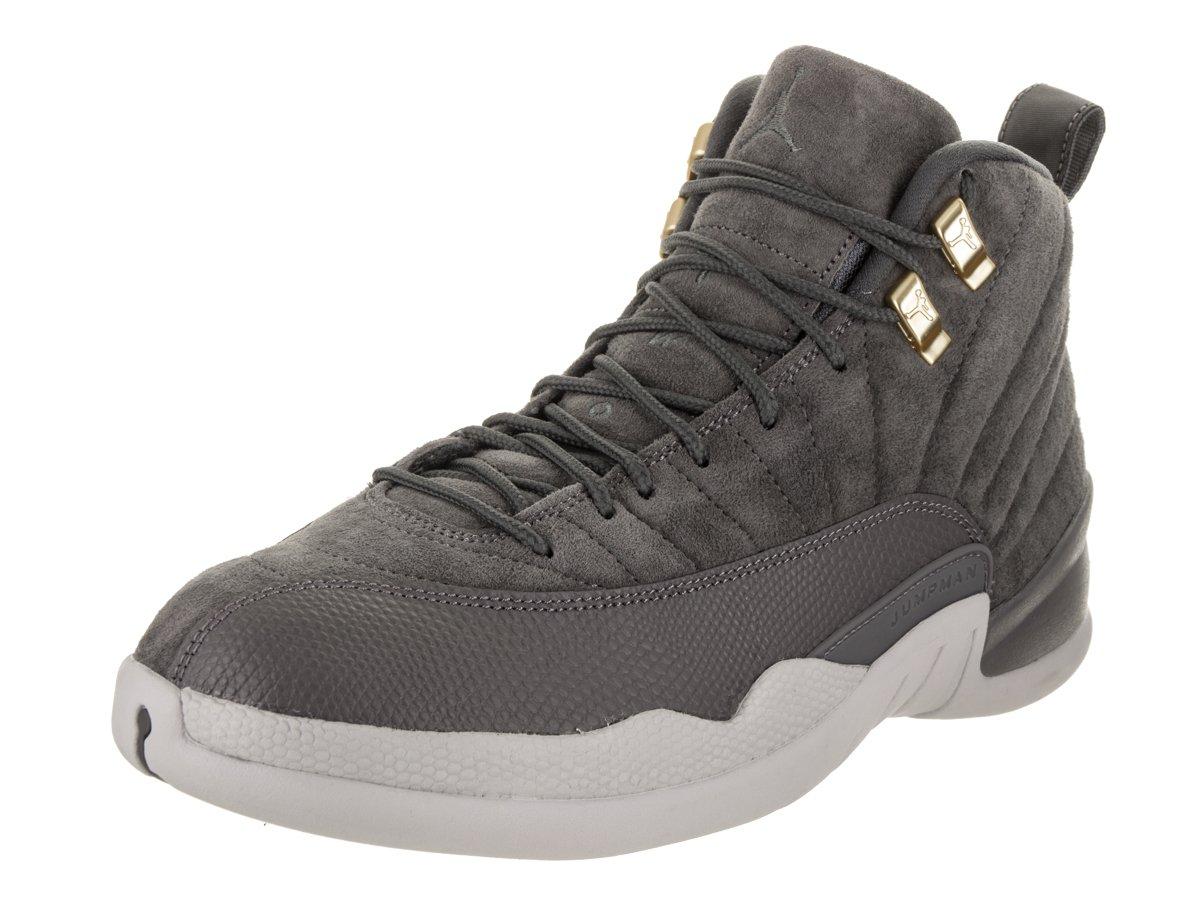 Jordan Nike Men's Air 12 Retro Dark Grey/Dark Grey Wolf Grey Basketball Shoe 9 Men US by Jordan