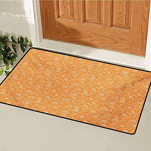 GUUVOR Harvest Commercial Grade Entrance mat Pattern with Pumpkin Leaves and Swirls on Orange Backdrop Halloween Inspired for entrances garages patios W19.7 x L31.5 Inch Orange White]()